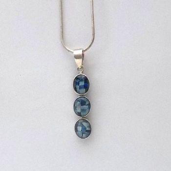 Rare 3 stone Sliced Opal Pendant